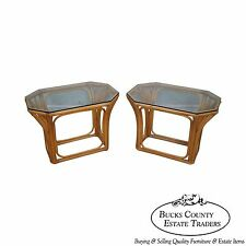 Quality Pair of Rattan Bamboo Palm Leaf Glass Top End Tables