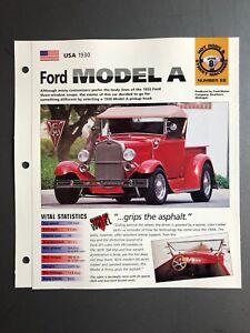 "1930 Ford Model A Pickup IMP ""Hot Cars"" Spec Sheet / Folder Brochure Aweosme"