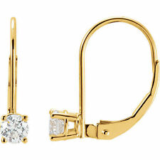 Diamond Solitaire Lever Back Earrings In 14K Yellow Gold (1/2 ct. tw