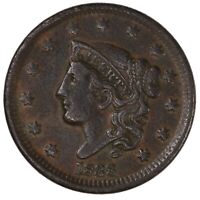 Raw 1838 Coronet Head 1C US Copper Large Cent Coin
