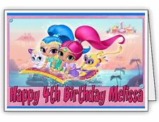 Personalised Birthday Card with Shimmer and Shine Print -  Any name and Age