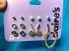 Nine Classy Pairs Of Claire's Earrings Stud Ball Rhinestone Dangling New!