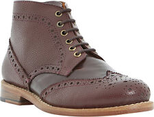 BERTIE POLLARD SHOES LACE UP BROGUES TWO TONE ANKLE BOOTS BURGUNDY LEATHER 39 8