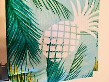 TROPICAL TEAL LEAVES WHITE PINEAPPLES  TEXTURED FABRIC SHOWER CURTAIN + HOOKS