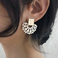 Charm Statement Geometric Pearl Stud Earrings Dangle Women Wedding Jewelry Gift