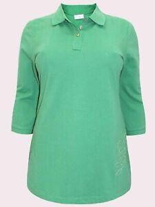 size 16 18 New Ulla Popken Aqua Embroidered Cotton 3/4 Sleeve Polo Top