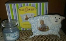 "Lot of 2-Gorham Little Boy""Merry Go Round"" Sheep Pic Frame/""It's a Boy""Candle,Bn"