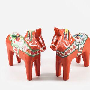 "2 Vtg Nils Olsson Wood Dala Horse Figurine Orange Hand Painted Sweden Sticker 5"""