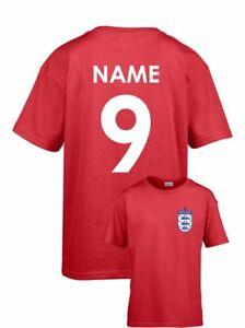Personalised England Kids Football T-Shirt Name Number Age Birthday Custom Team