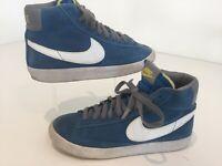 Mens Vintage Retro Nike Hitop Blazers Blue Trainers Sneakers Suede Uk5/38 Skater