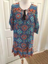 NWT TOLANI Devina Silk Tunic Dress Multicolor Blue  S