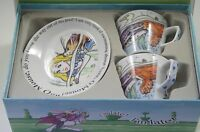 NIB PAUL CARDEW ALICE IN WONDERLAND SET OF 2 CUPS AND PLATES, LUNCHEON