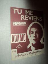 ADAMO PARTITION MUSICALE BELGIQUE TU ME REVIENS