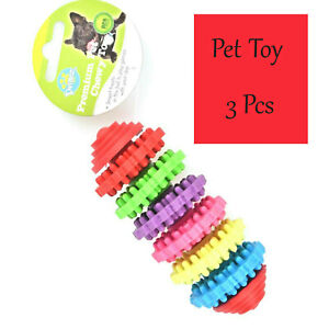 Pet Toy 3 Pcs Dog Play Chew Toys Durable Rubber Pet Play Activity Dental Chew