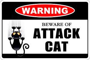 "*Aluminum* Warning Beware Of Attack Cat 8""x12"" Metal Novelty Sign  NS 173"
