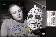 HOFer Gerry CHEEVERS ADMIRES his MASK Boston BRUINS Signed 8X10 w/ COA & Holo !!