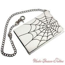 Porte-monnaie portefeuille de qualité Blanc Toile d'araignée araignée rockabilly