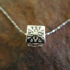 Hawaii Jewelry 925 Sterling Silver Cube with Leaf Design Pendant (M) SP35901