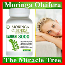 1 BOTTLE OF NATURAL ORGANIC SUPERFOOD pure Moringa Oleifera Vegetarian 60 Doses