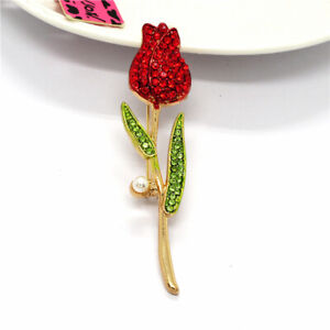 Betsey JohnsonValentine's Day Red Rhinestone Pearl Rose Flower Woman Brooch Pin