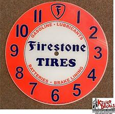"14.25"" RD FIRSTONE TIRES SALES AND SERVICE GLASS FACE PAM CLOCK GASOLINE OIL"