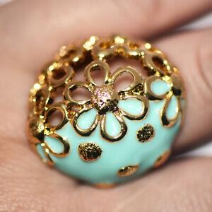 Big Large Vintage Flower Ring Filigree Green Enamel Womens Flower Rings Size 9