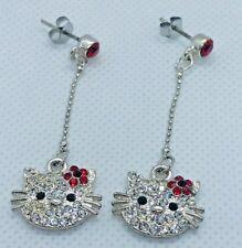 Sanrio Hello Kitty Rhinestones Dangling Stud Earrings Silver Tone