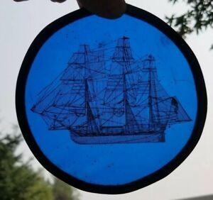 "Vtg Suncatcher Round Blue Glass Copper Wire Ship Inside Nautical Sail Boat 5.5"""