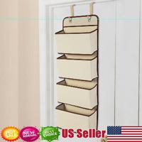 2*4 Tier Door Hanging Hook Organiser Shoes Storage Pockets Bag Wardrobe Beige