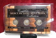 COMPLETE 1941-1945 MERCURY DIME MINT MARK COLLECTION THREE COIN SET