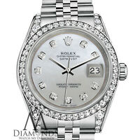 Rolex Datejust 36mm SS White Mother Of Pearl Diamond Dial Stainless Steel Watch