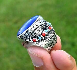 Turkmen Lapis Lazuli Stone Ring Tribal Kuchi Silver Afghan Jewelry Ethnic Gypsy