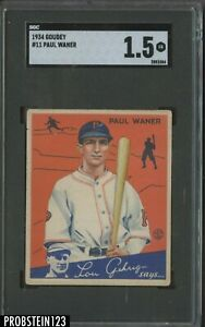 1934 Goudey #11 Paul Waner Pittsburgh Pirates HOF SGC 1.5 Fair