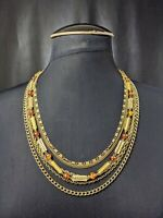 Lovely Vintage Jewellery Gold-tone Amber Colour Beads Multi-strand Necklace