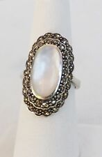Vintage Sterling Silver Long Large Mother Of Pearl Ring w/ Layered Marcasite