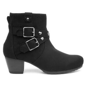 Lilley Girls Black Ankle Boots with Heel and Heart Studs and Buckle