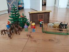 Playmobil Blockhütte 3638 Streichelzoo Tiere Kinder Retro Wildpark Reh Hase