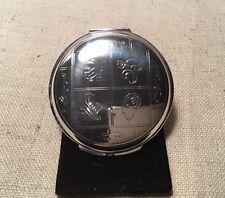 Georg Jensen Denmark Antique Sterling Silver Floral Animal Round Mirror Compact