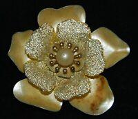"Vintage Pearl Cream Gold Sparkle Enamel Large Flower Brooch Pin 3"" Jewelry"
