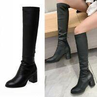 Women's Punk Leather Block Heel Round Toe Mid Calf Knee High Riding Boots Casual