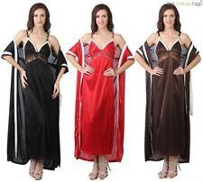 Full Length Satin Glamour Patternless Nightwear for Women