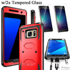 Hybrid Dual Layer Protective Phone Case Cover + Tempered Glass Screen Protector