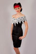 Vintage Scott Mclintock black white brocade lace off shoulder wiggle dress sz 8