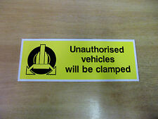 WHEEL CLAMPING warning sign - 275mm x 100mm