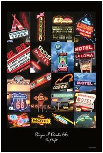 Signs of Route 66 By Night Poster - 24 x 36