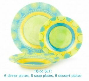 18-pc DINNER SET, Luminarc Propriano Turquoise Plates Set, Tempered Glass