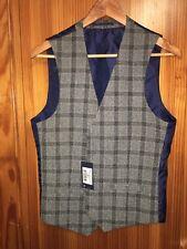 Farah Mens Waistcoat Derwent Check Grey Shade Size 36 R New Tags