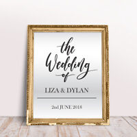 Personalise Wedding Custom Venue Welcome Decor Mirror Sticker Vinyl Decal