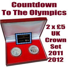 2 x £5 UK Crown Coin Set Countdown to London 2011 2012 Olympics Limited Edition