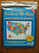 New Giant Size Sticker Me Map Usa 22 x 26 inch wall map poster w/ 50 stickers